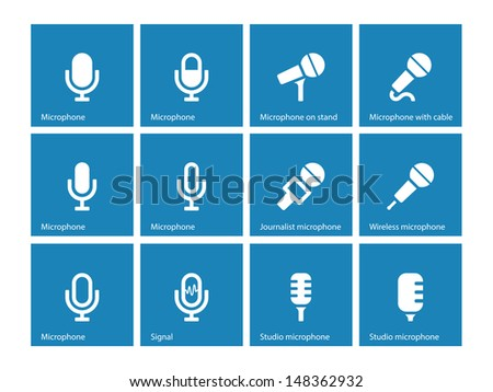 Microphone icons on blue background. Vector illustration. - stock vector