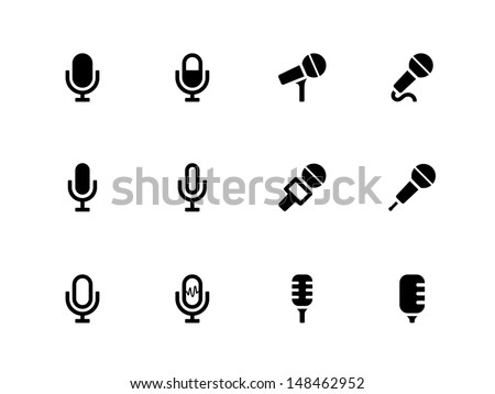 Microphone icons on white background. Vector illustration. - stock vector