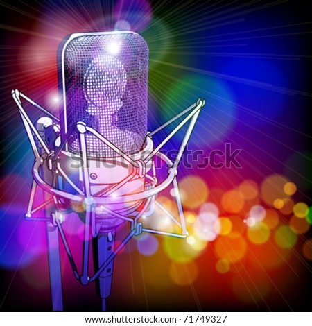 microphone in the light colored lights - stock vector