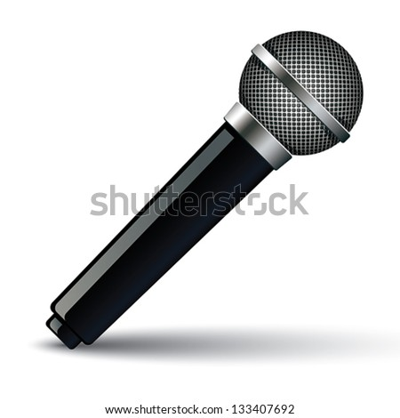 Microphone isolated on white background, icon, vector illustration. - stock vector