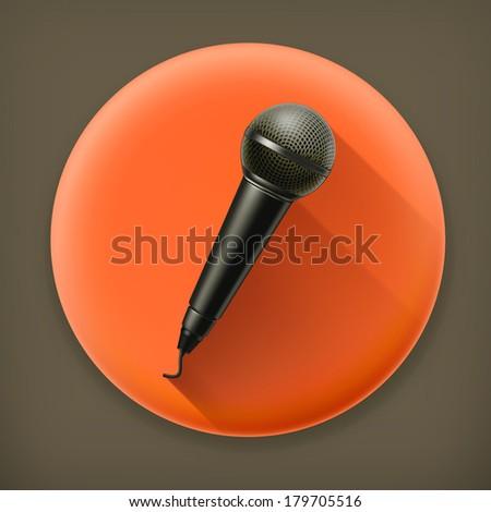 Microphone long shadow vector icon - stock vector