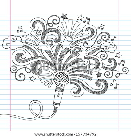 Microphone Music Back to School Sketchy Notebook Doodles Illustration with Palm Shooting Stars and Music Notes- Vector Illustration on Lined Sketchbook Paper - stock vector