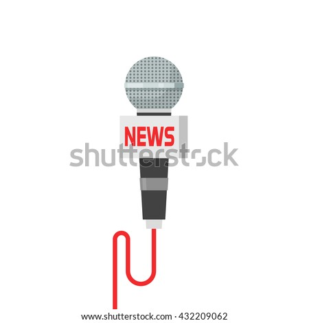 Microphone news vector illustration isolated on white, flat cartoon interview microphone with wire - stock vector