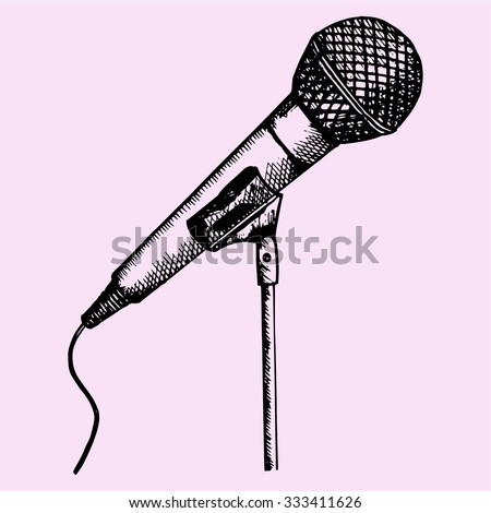 microphone on a stand, doodle style, sketch illustration, hand drawn, vector - stock vector