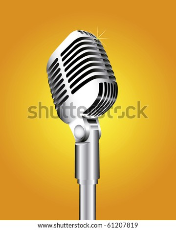 Microphone on an orange background - stock vector