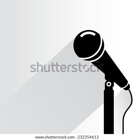 microphone on white background, flat and shadow theme - stock vector