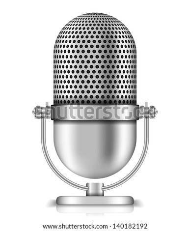 Microphone on white background, vector eps10 illustration - stock vector