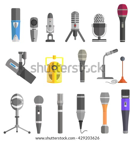 Microphone set design flat isolated icon, vintage microphone stand, sound media, record vocal musical web broadcasting microphone vector illustration - stock vector