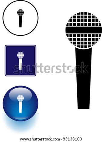 microphone symbol sign and button - stock vector
