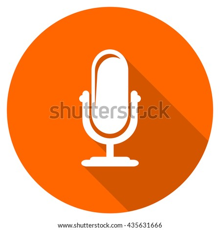 microphone vector icon, orange circle flat design internet button, web and mobile app illustration - stock vector