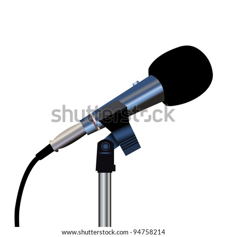 Microphone with a cord on a white background