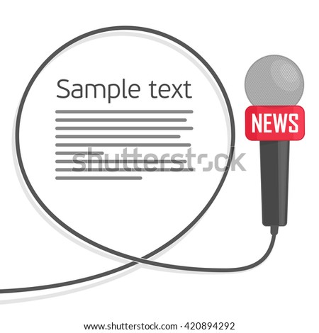 Microphone with a wire on a white background. Symbol breaking news on TV and radio. Journalism concept. Live news template. Vector illustration in a flat style. - stock vector