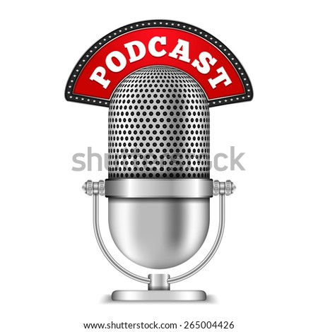 Microphone with podcast banner, vector eps10 illustration - stock vector