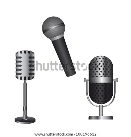 microphones isolated over white background. vector illustration - stock vector