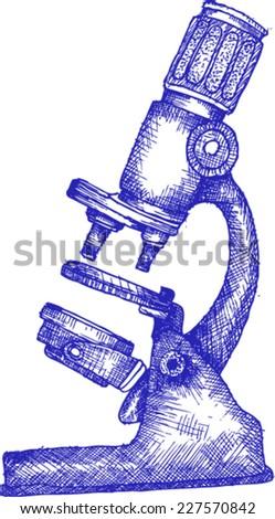 microscope , sketch - stock vector