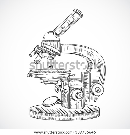 Microscope. Vintage science laboratory. Vector hand drawn illustration in sketch style.  - stock vector