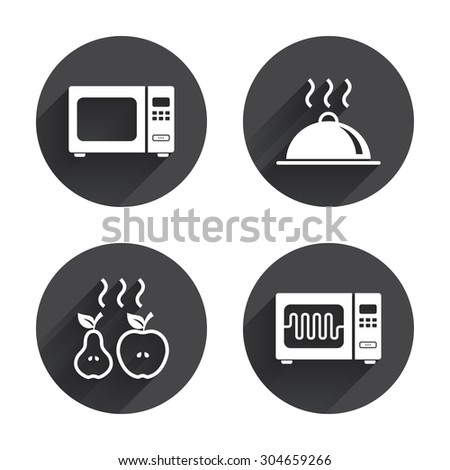 Microwave grill oven icons. Cooking apple and pear signs. Food platter serving symbol. Circles buttons with long flat shadow. Vector