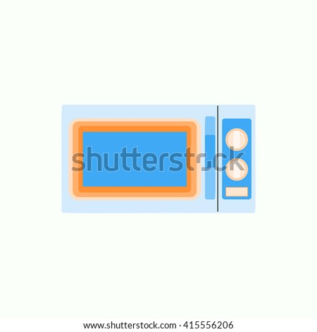Microwave icon in flat style, kitchenware illustration Vector eps10 - stock vector