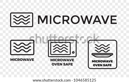 Microwave Oven Safe Icon Templates Set Stock Vector Royalty Free