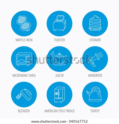 Microwave oven, teapot and blender icons. Refrigerator fridge, juicer and toaster linear signs. Hair dryer, steamer and waffle-iron icons. Blue circle buttons set. Linear icons. - stock vector