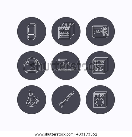 Microwave oven, washing machine and blender icons. Refrigerator fridge, dishwasher and multicooker linear signs. Coffee icon. Flat icons in circle buttons on white background. Vector - stock vector