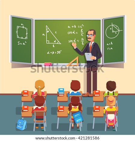 Mid age teacher man in glasses giving a trigonometry lecture on a chalkboard to a class of kids sitting at the school desks. Flat style color modern vector illustration. - stock vector