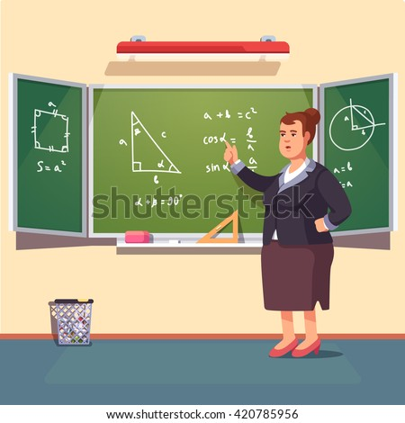 Mid age teacher woman giving a trigonometry lecture on a class chalkboard. Flat style color modern vector illustration. - stock vector