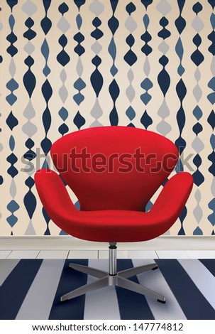 Mid century modern interior with red chair