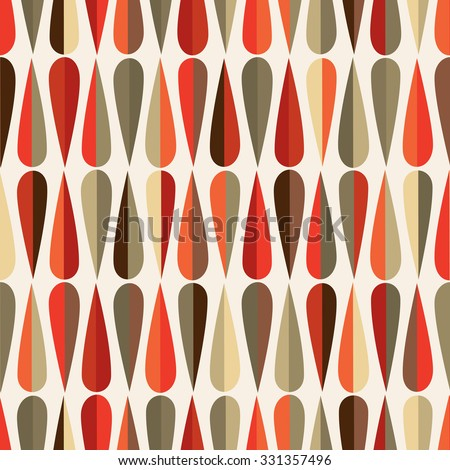 Mid Century Modern Style Retro Seamless Pattern With Drop Shapes In Various  Color Tones,