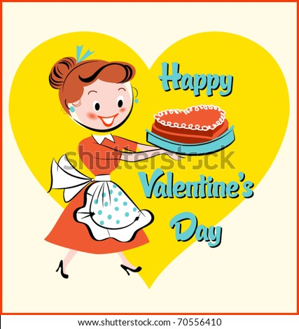 mid-century mom with Valentine's Day cake - stock vector