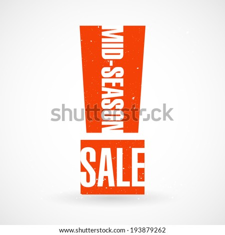 Mid-season sale typographic stickers. Vector illustration.  - stock vector