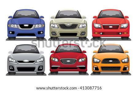 Mid Size Sedan Vector Set - stock vector