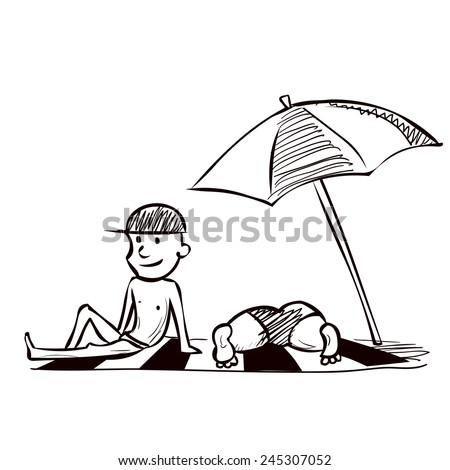 Middle-aged couple sunbathing on the beach. Hand drawn cartoon vector illustration. - stock vector