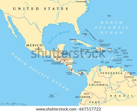 Middle america political map capitals borders stock photo photo middle america political map with capitals and borders mid latitudes of the americas region gumiabroncs Images