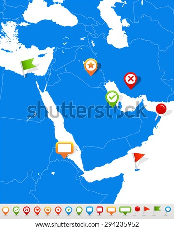 Middle East and Asia map and navigation icons - Illustration - stock vector