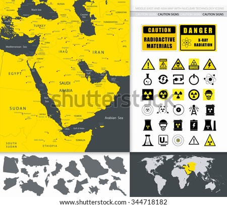 Middle East And Asia Map And Nuclear Technology Icons. - stock vector