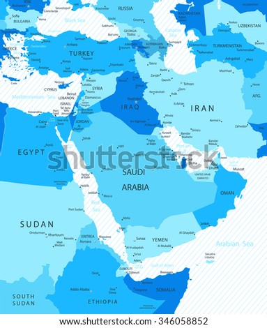 Middle East and Asia Map Blue Colors Map - stock vector