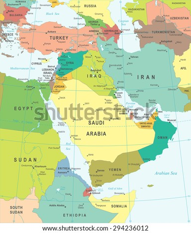 Middle East and Asia map - highly detailed vector illustration - stock vector