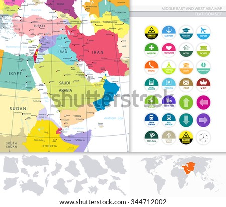 Middle East And West Asia Map And Flat Icons. - stock vector