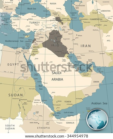 Middle east west asia map old stock photo photo vector middle east and west asia map old colors gumiabroncs Image collections