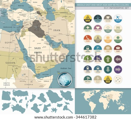 Middle East And West Asia Map Retro Colors. - stock vector