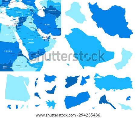 Middle East map and country contours - Illustration - stock vector