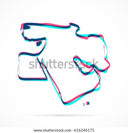 Middle East Map Hand Drawn Blue Stock Vector (Royalty Free ...