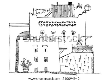 Machicolation On Spanish Tower Segovia Spain Stock Vector