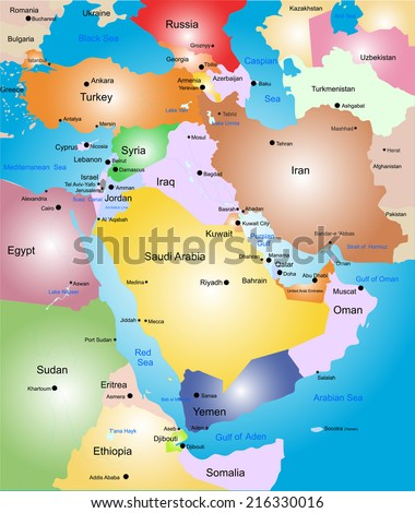 Middle-east vector color map - stock vector