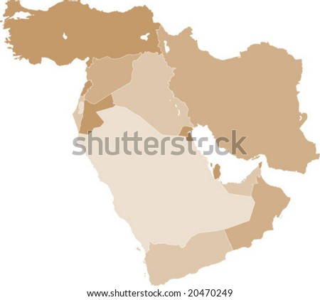 Middle East vector map - stock vector