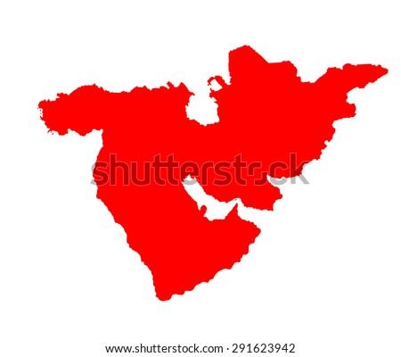 Middle east vector map set of states. high detailed silhouette illustration isolated on white background. Middle east countries collection illustration. Asia icon of middle east states. - stock vector
