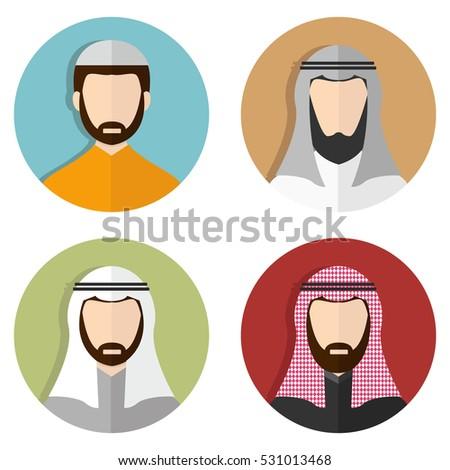 middle eastern arabic men muslim avatar stock vector royalty free