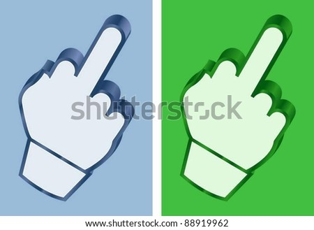 middle finger cursor - stock vector