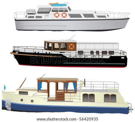 Middle size sea touristic motor boats. Vector color illustration. - stock vector